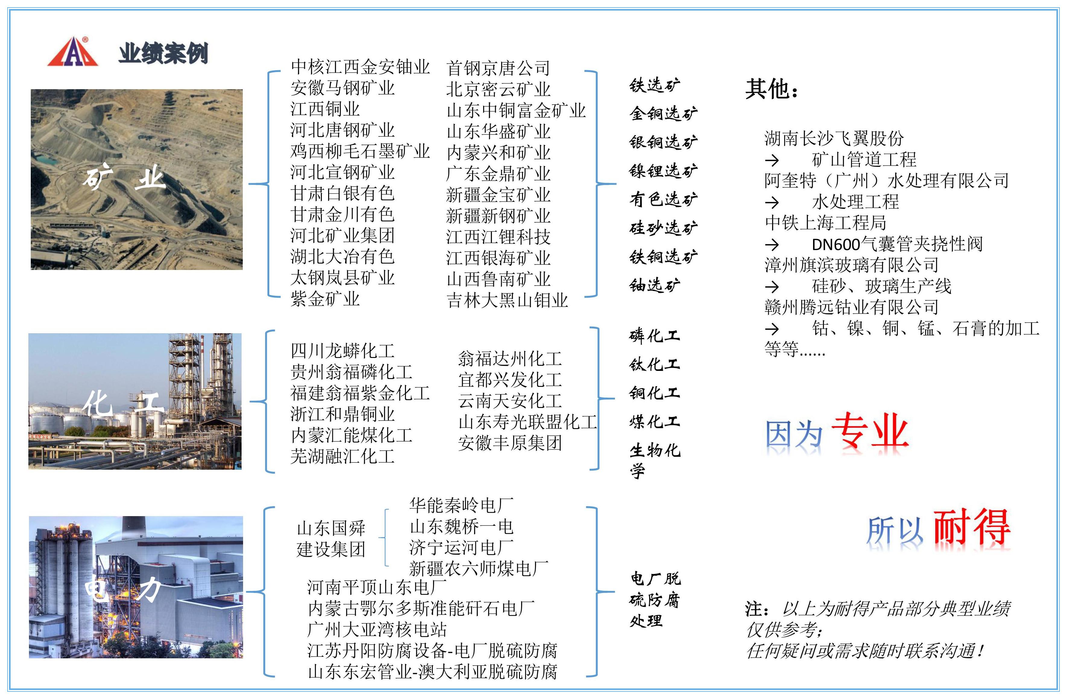 芜湖耐得胶管阀业有限公司相关业绩案例