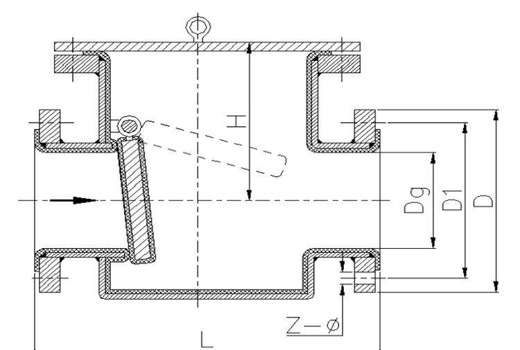 卧式衬胶止回阀结构示意图