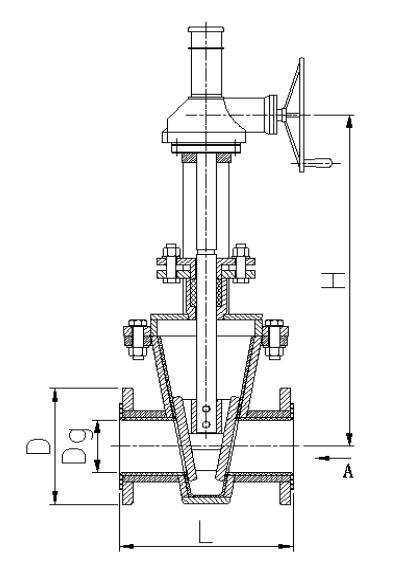 蜗轮衬胶闸板阀结构示意图