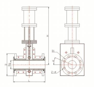 双气缸常闭型管夹阀结构示意图