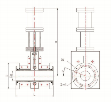 气开式带手轮胶管阀结构示意图